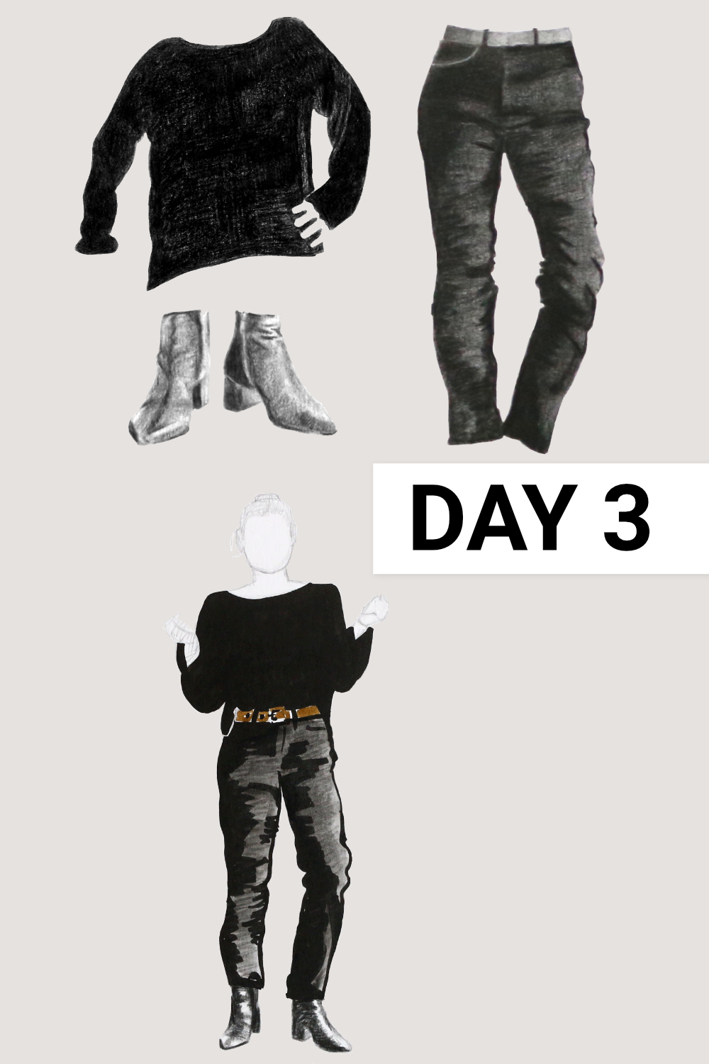 Day 3: Black boatneck ( Everlane , Black Cashmere Rib Boatneck, size M), black jeans ( Everlane , Authentic Stretch High-Rise Cigarette, size 31), black boots ( Everlane , The Boss Boot)    Drawing a Capsule Wardrobe , by The Daily Atelier #10x10Friends #Winter10x10 #StyleBee10x10
