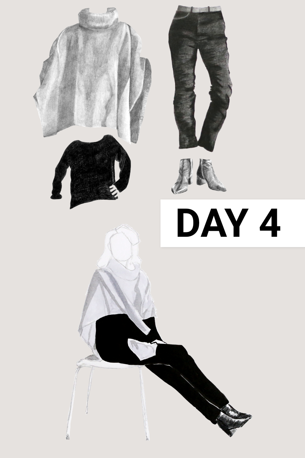 Day 4: Black boatneck ( Everlane , Black Cashmere Rib Boatneck, size M), black jeans ( Everlane , Authentic Stretch High-Rise Cigarette, size 31), black boots ( Everlane , The Boss Boot), grey poncho ( Seasalt , past collection, wool)    Drawing a Capsule Wardrobe , by The Daily Atelier #10x10Friends #Winter10x10 #StyleBee10x10