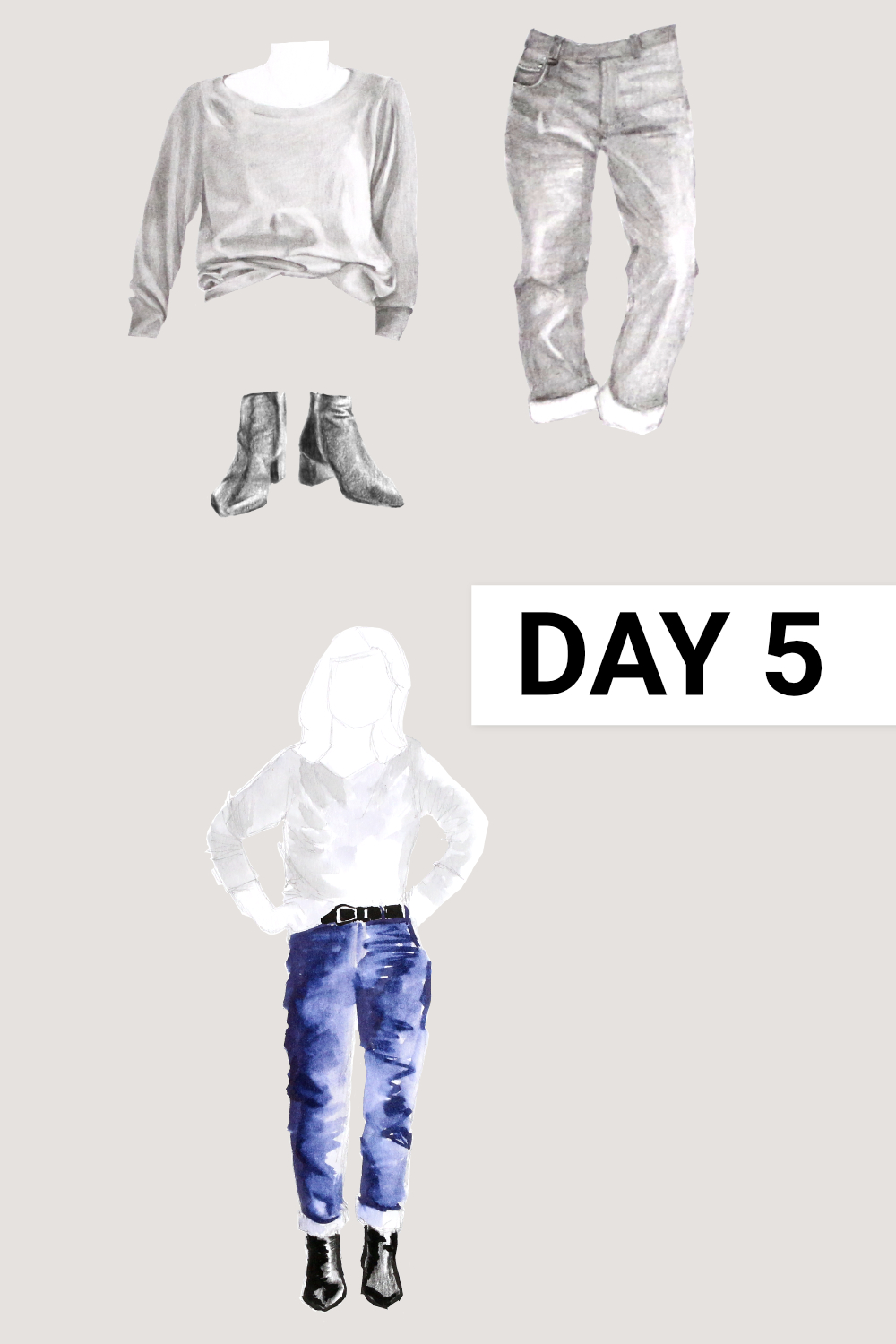 Day 5: Grey raglan ( Everlane , Grey Cashmere Ballerina Raglan, size XL), blue jeans ( Everlane , The Cheeky Straight Jean, size 31), black boots ( Everlane , The Boss Boot)    Drawing a Capsule Wardrobe , by The Daily Atelier #10x10Friends #Winter10x10 #StyleBee10x10