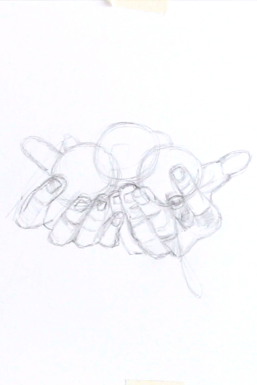Sketching the hands after my reference picture |  Drawing Hands for my New Year Card , by The Daily Atelier