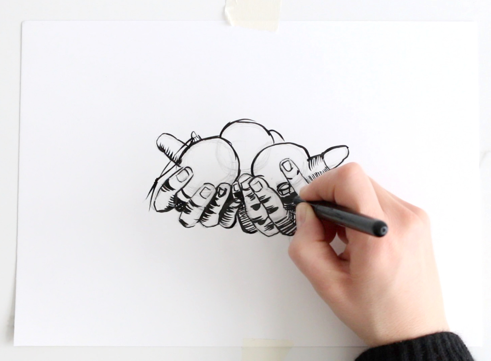 Ink drawing a first sketch |  Drawing Hands for my New Year Card , by The Daily Atelier