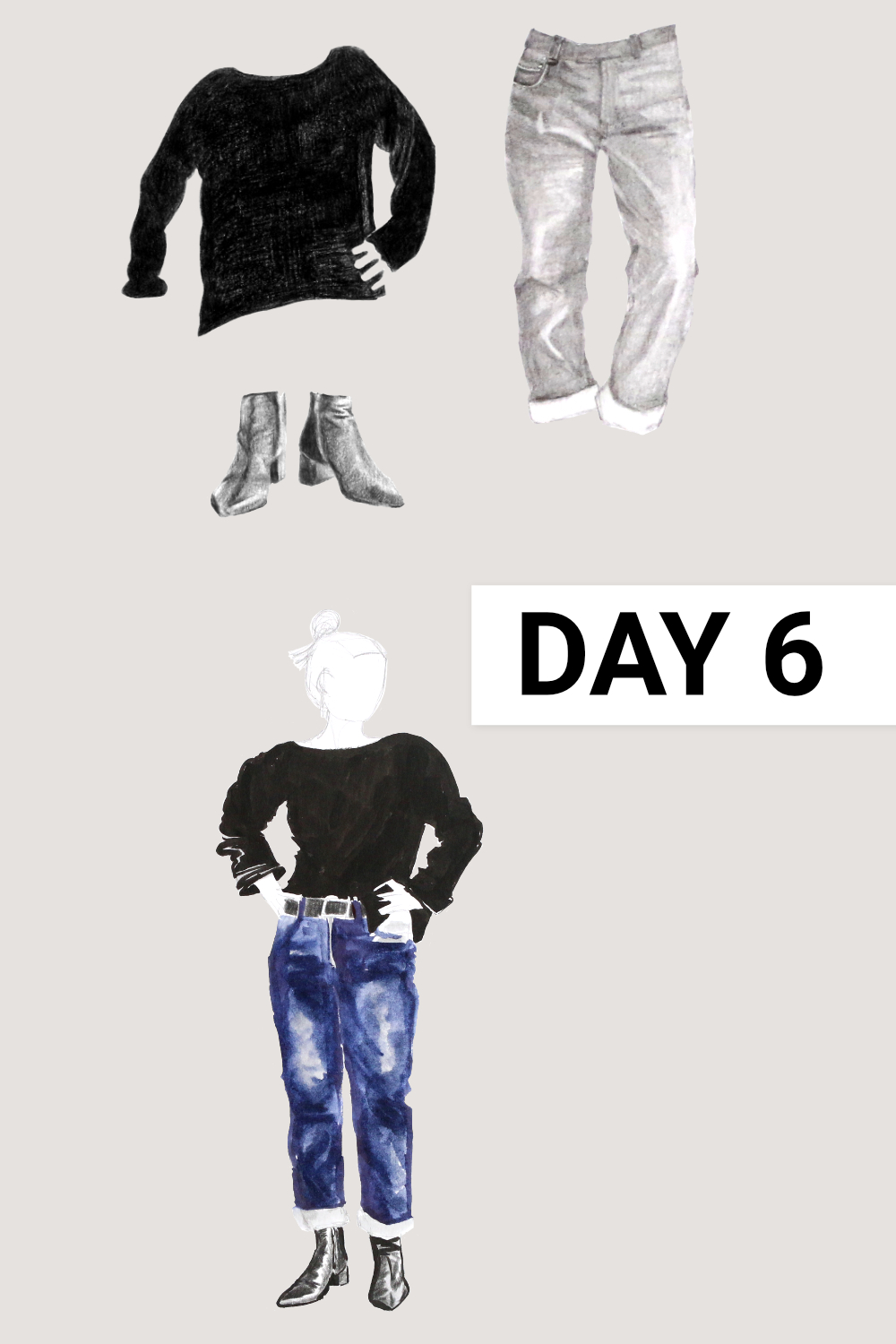Day 6: Black boatneck ( Everlane , Black Cashmere Rib Boatneck, size M), blue jeans ( Everlane , The Cheeky Straight Jean, size 31), black boots ( Everlane , The Boss Boot)    Drawing a Capsule Wardrobe , by The Daily Atelier #10x10Friends #Winter10x10 #StyleBee10x10