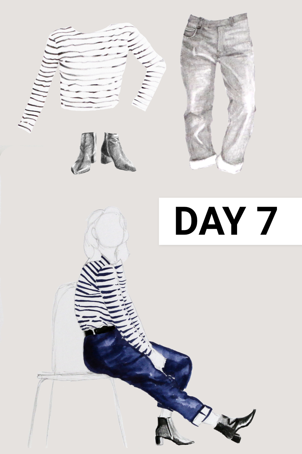 Day 7: Breton shirt ( Seasalt , Sailor Shirt, organic cotton, size 12), blue jeans ( Everlane , The Cheeky Straight Jean, size 31), black boots ( Everlane , The Boss Boot)    Drawing a Capsule Wardrobe , by The Daily Atelier #10x10Friends #Winter10x10 #StyleBee10x10