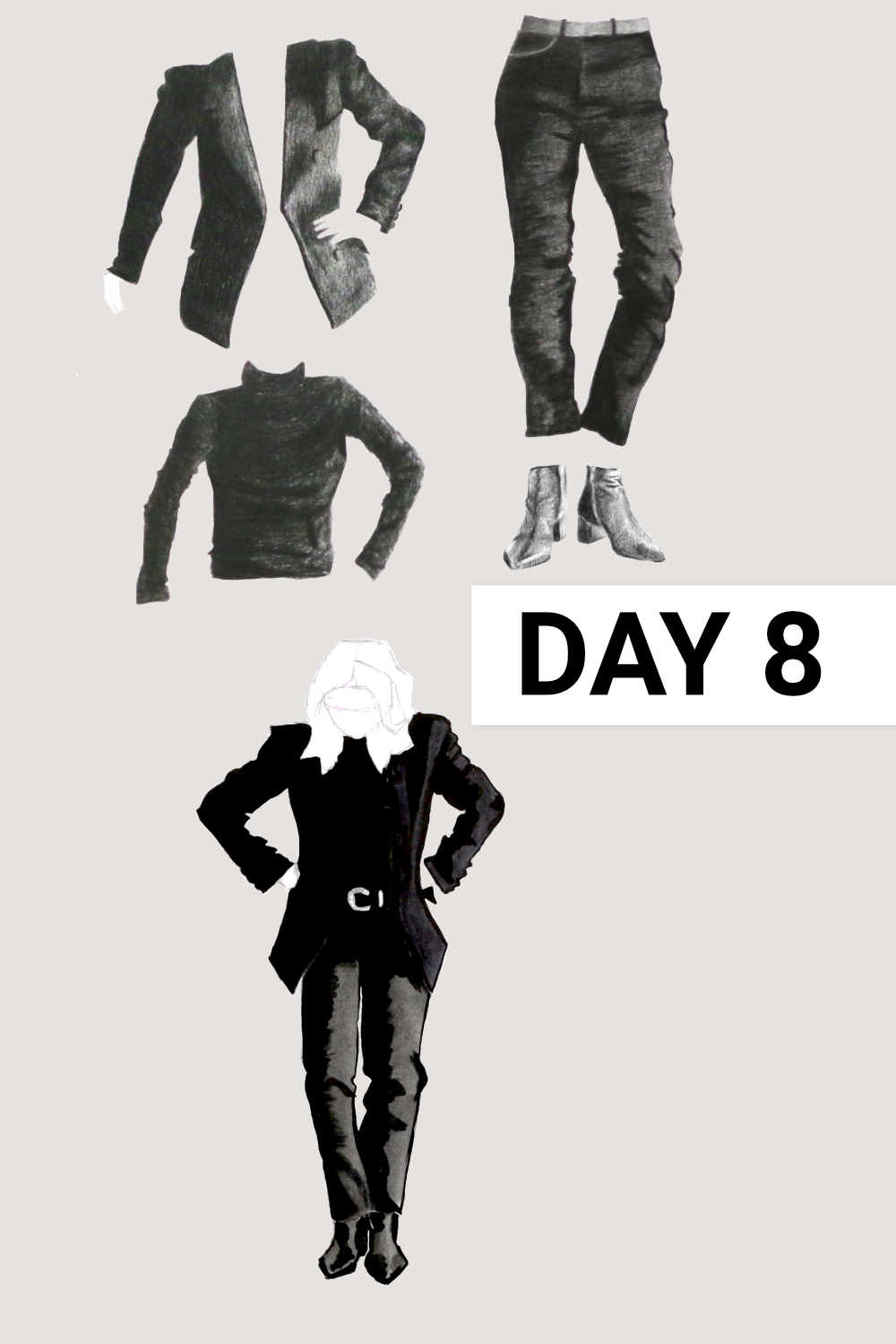 Day 8: Black blazer, black turtleneck ( People Tree , Laila Roll Neck Top in Black, size 12), black jeans ( Everlane , Authentic Stretch High-Rise Cigarette, size 31), black boots ( Everlane , The Boss Boot), grey poncho ( Seasalt , past collection, wool)    Drawing a Capsule Wardrobe , by The Daily Atelier #10x10Friends #Winter10x10 #StyleBee10x10