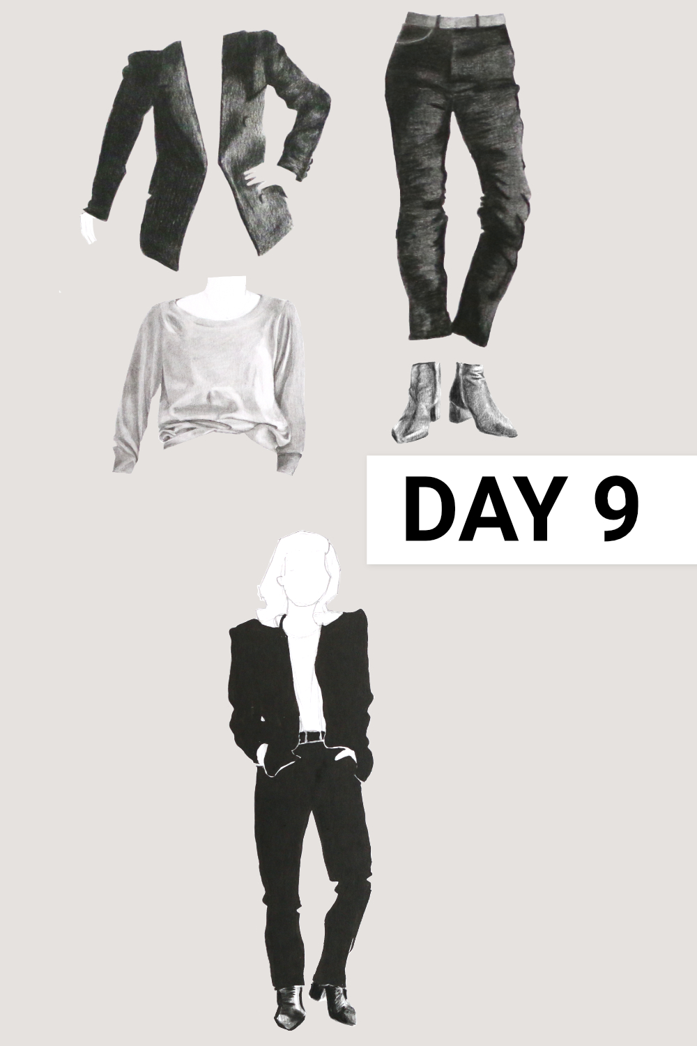 Day 9: Black blazer, Grey raglan ( Everlane , Grey Cashmere Ballerina Raglan, size XL), black jeans ( Everlane , Authentic Stretch High-Rise Cigarette, size 31), black boots ( Everlane , The Boss Boot), grey poncho ( Seasalt , past collection, wool)    Drawing a Capsule Wardrobe , by The Daily Atelier #10x10Friends #Winter10x10 #StyleBee10x10