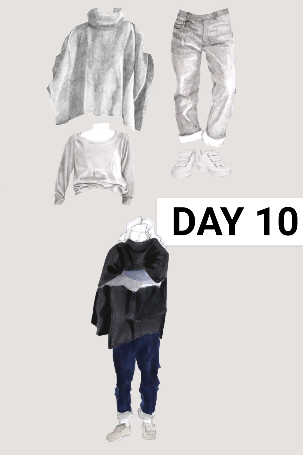 Day 10: grey poncho ( Seasalt , past collection, wool), grey raglan ( Everlane , Grey Cashmere Ballerina Raglan, size XL), blue jeans ( Everlane , The Cheeky Straight Jean, size 31), White sneakers ( Veja , White Esplar Leather 3-Lock)    Drawing a Capsule Wardrobe , by The Daily Atelier #10x10Friends #Winter10x10 #StyleBee10x10