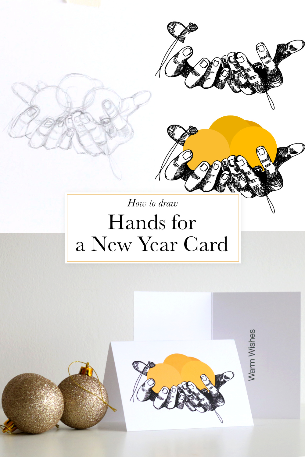 How to draw a New Year Card  | by The Daily Atelier.