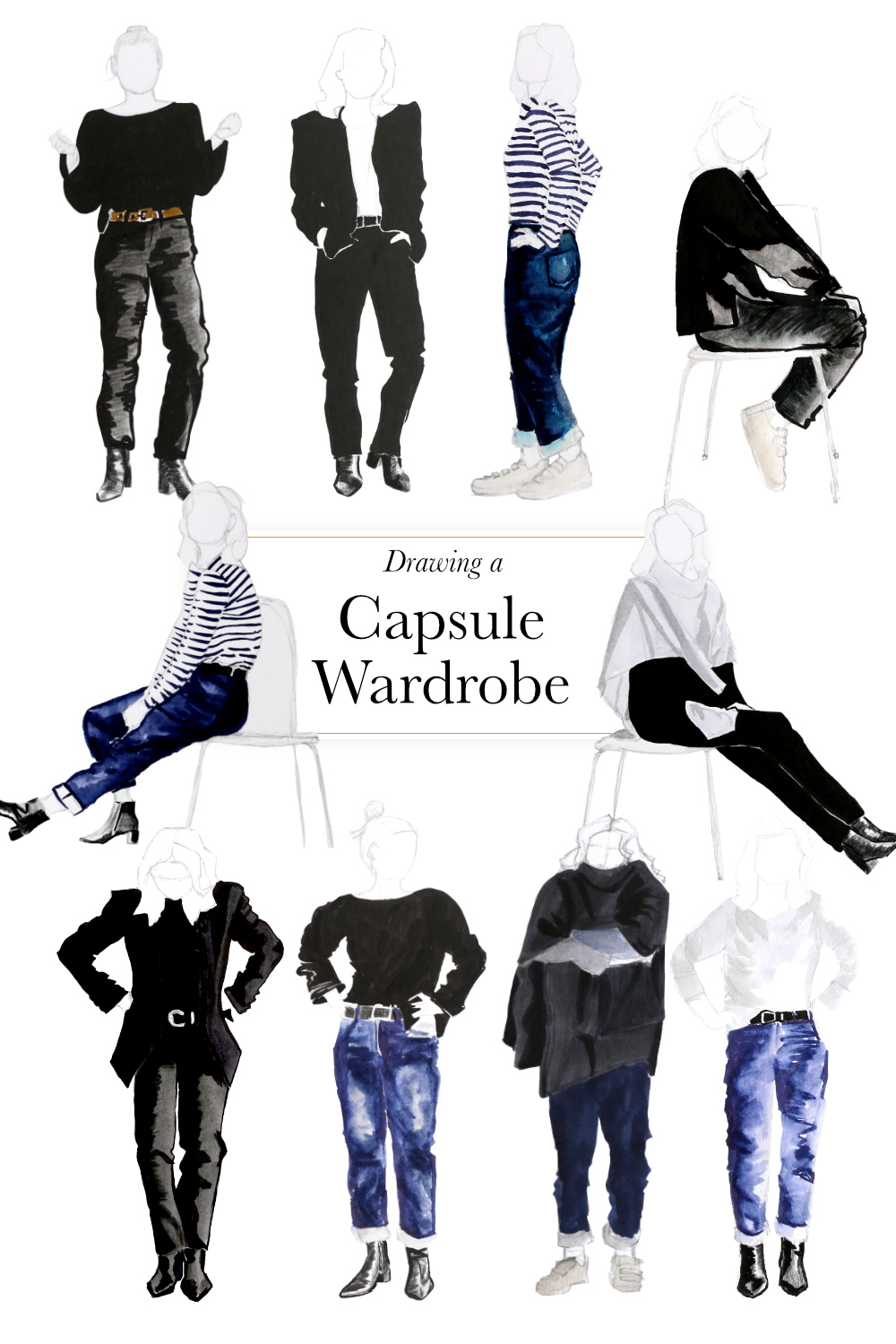 Drawing a capsule wardrobe    by The Daily Atelier #10x10Friends #Winter10x10 #StyleBee10x10