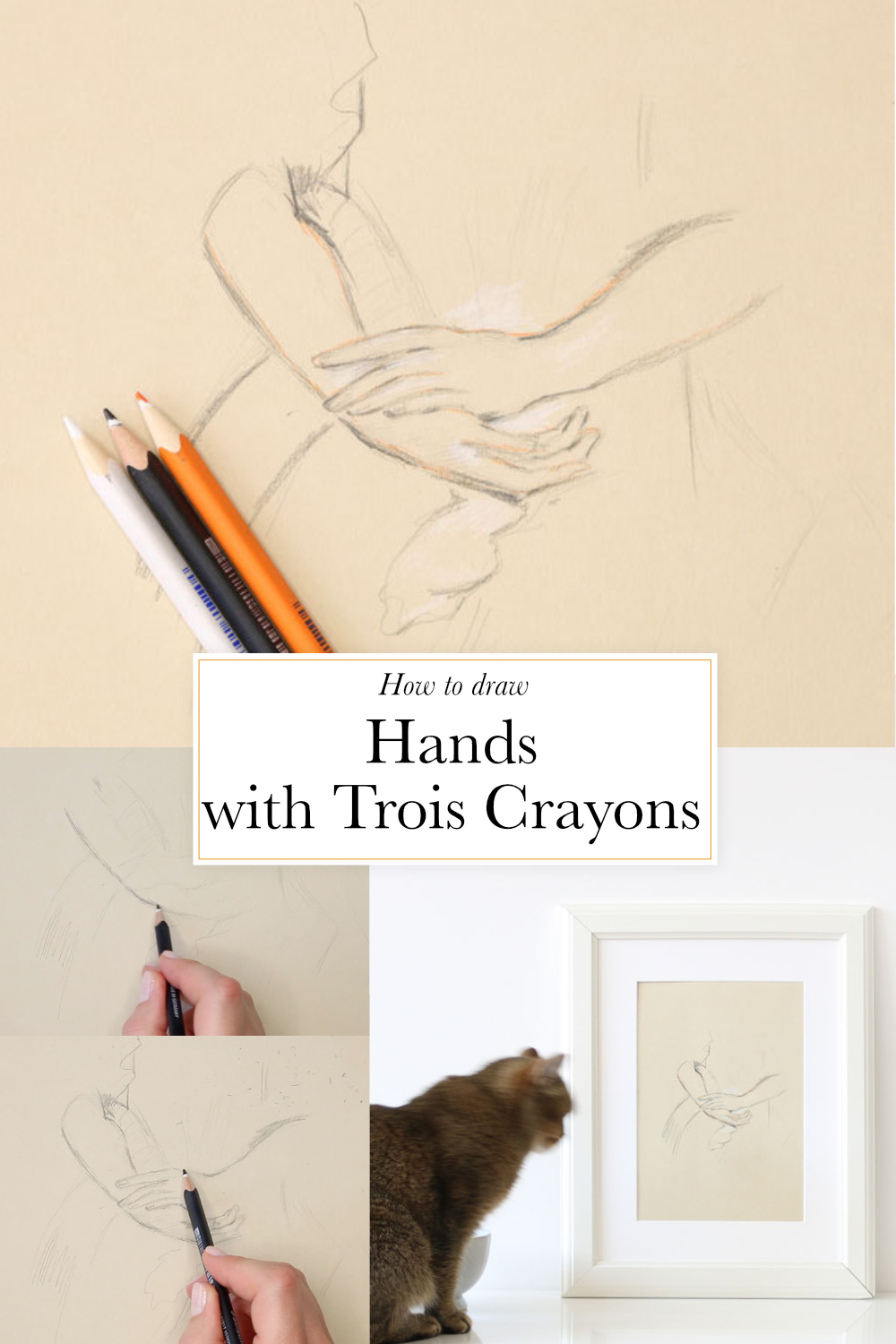 How to draw hands with the aux trois crayons technique |  by The Daily Atelier