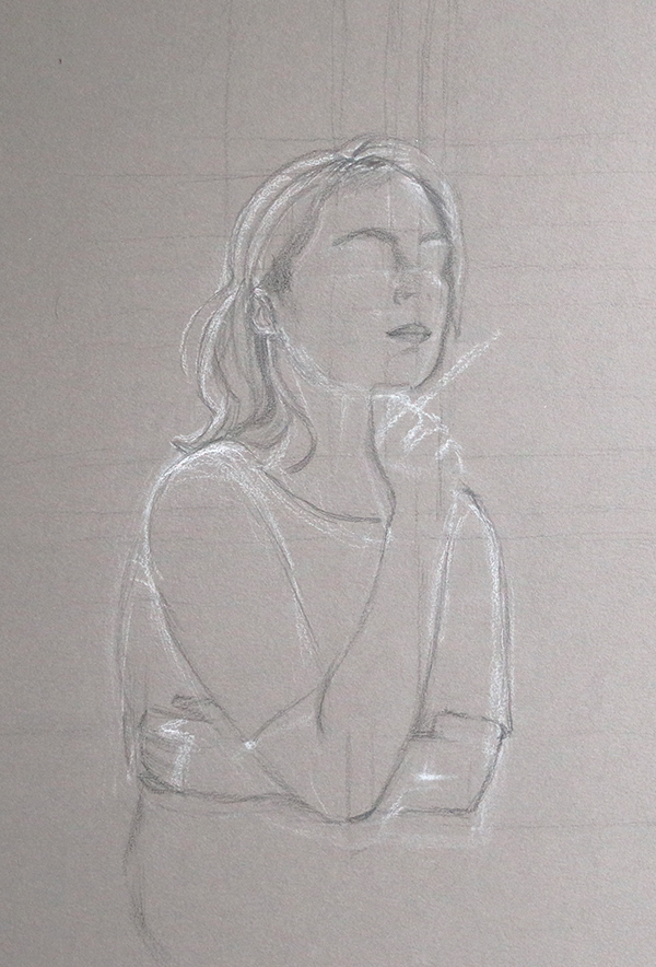 First day: sketching with pencil |  A Self-Portrait on Grey Paper  by The Daily Atelier