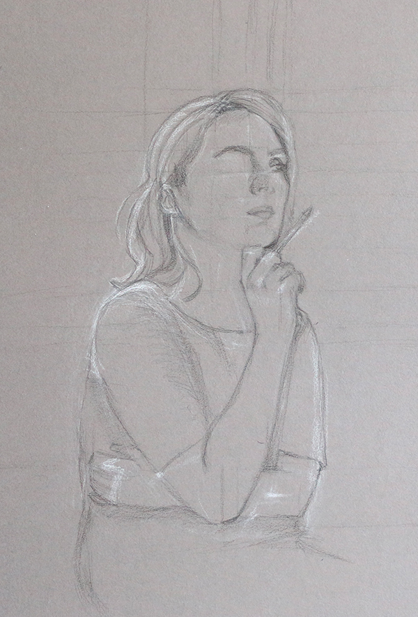 Day 2: left eye, right hand |  A Self-Portrait on Grey Paper  by The Daily Atelier