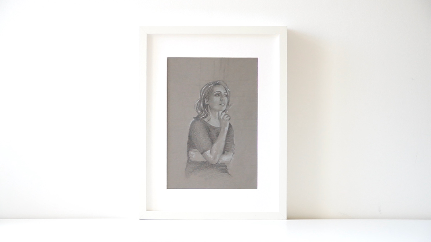 Finished drawing with a frame |  A Self-Portrait on Grey Paper  by The Daily Atelier