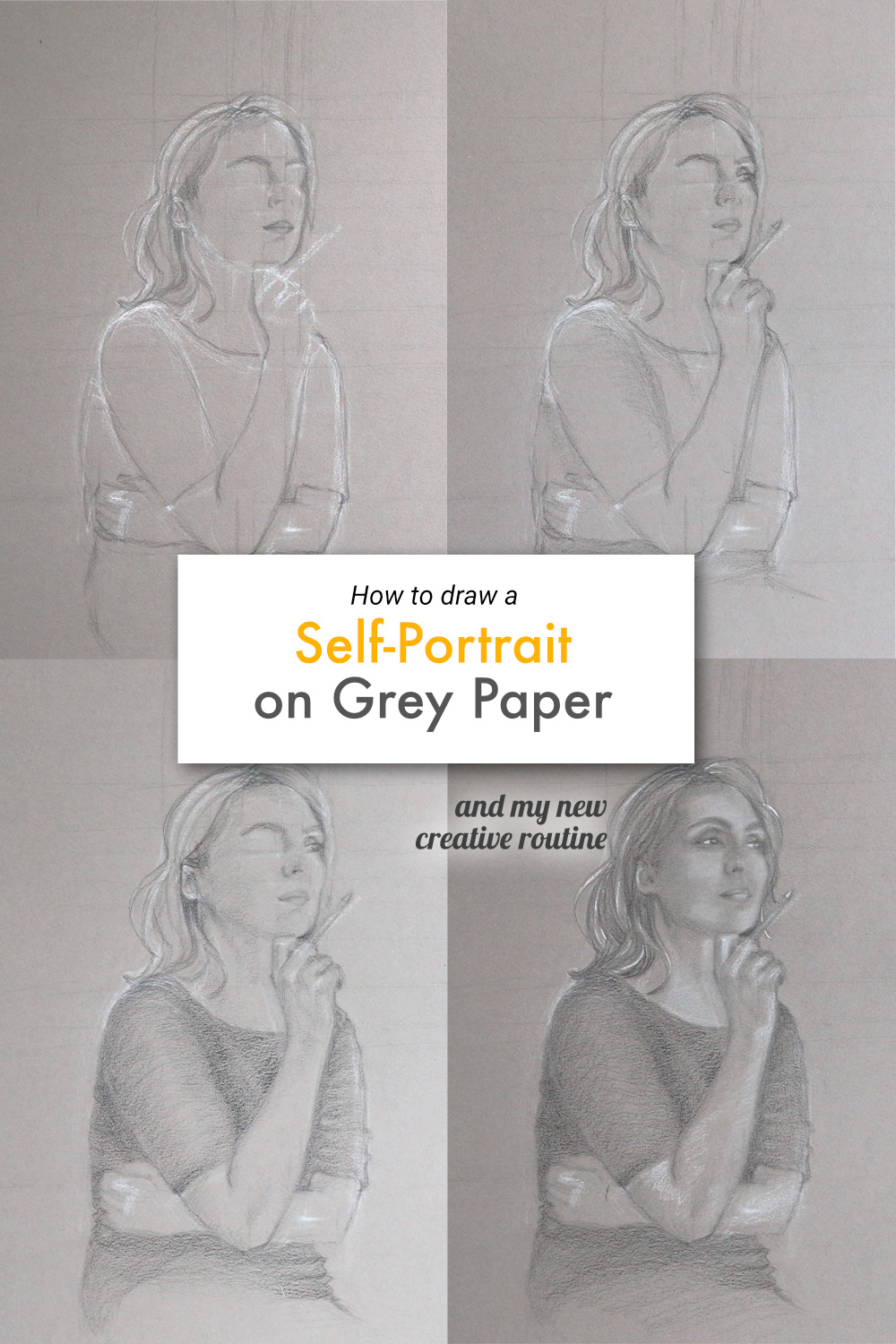 How to draw a self-portrait on grey paper, and my new creative routine | by The Daily Atelier