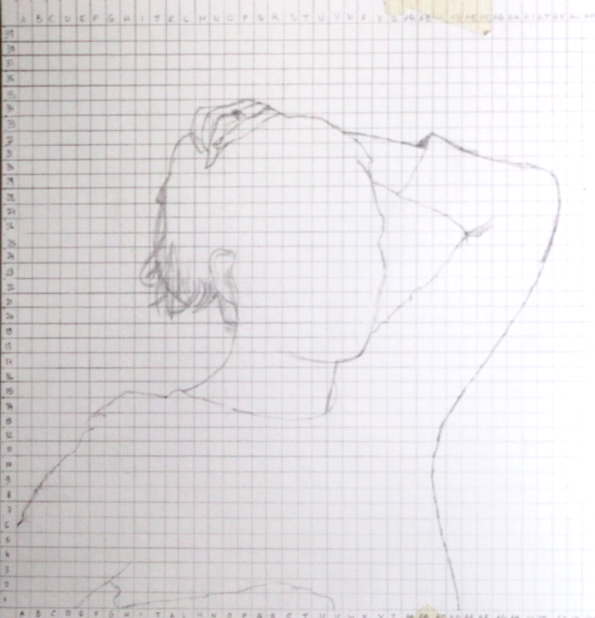 Step 2: squared for transfer | Exploring other ways to draw a portrait with pencil , by The Daily Atelier