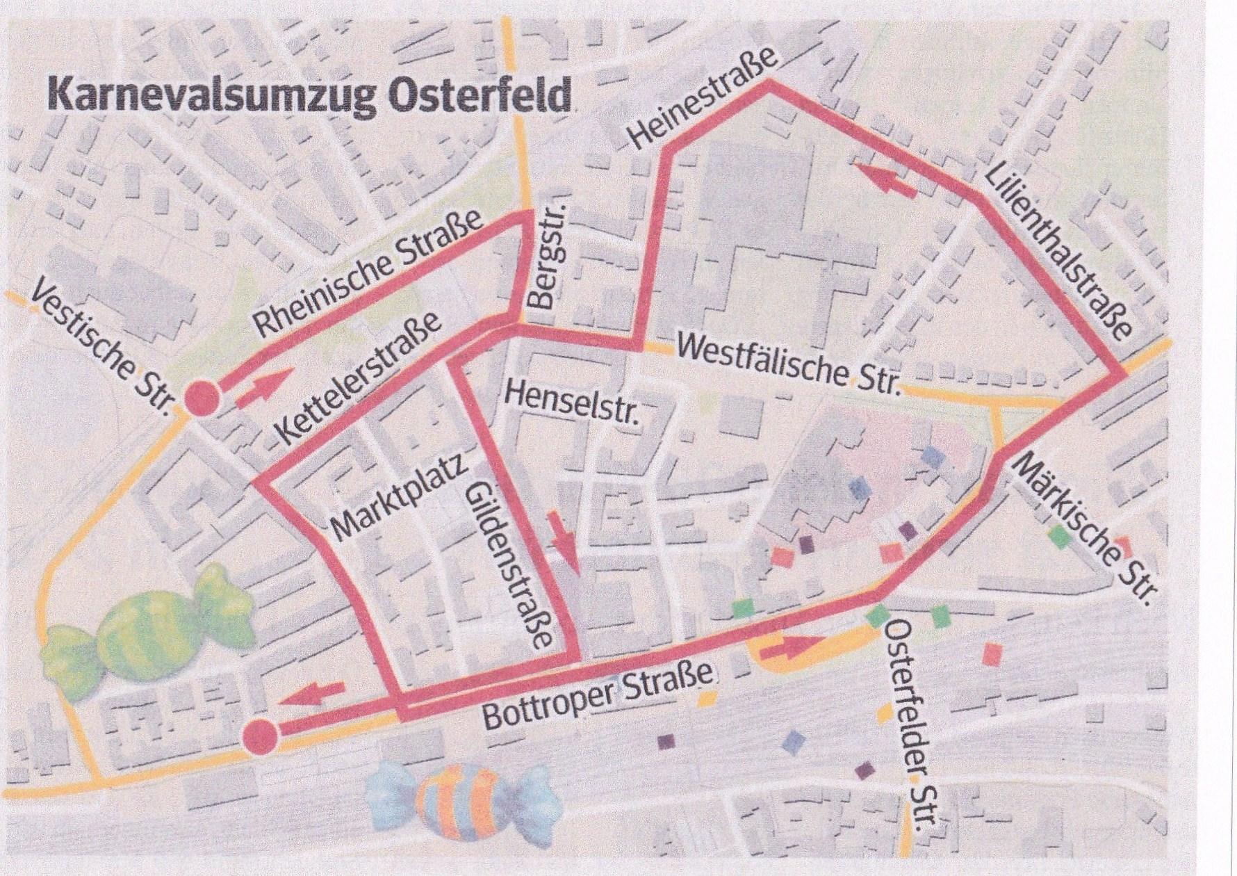 Karnevalszug Osterfeld 2019 - Hier finden sie den Zugplan sowie die Aufstellung des 2019er Karnevalszuges in Osterfeld