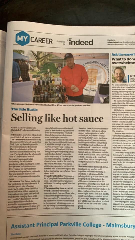 Mat's Hot Shop My Career Section The Age