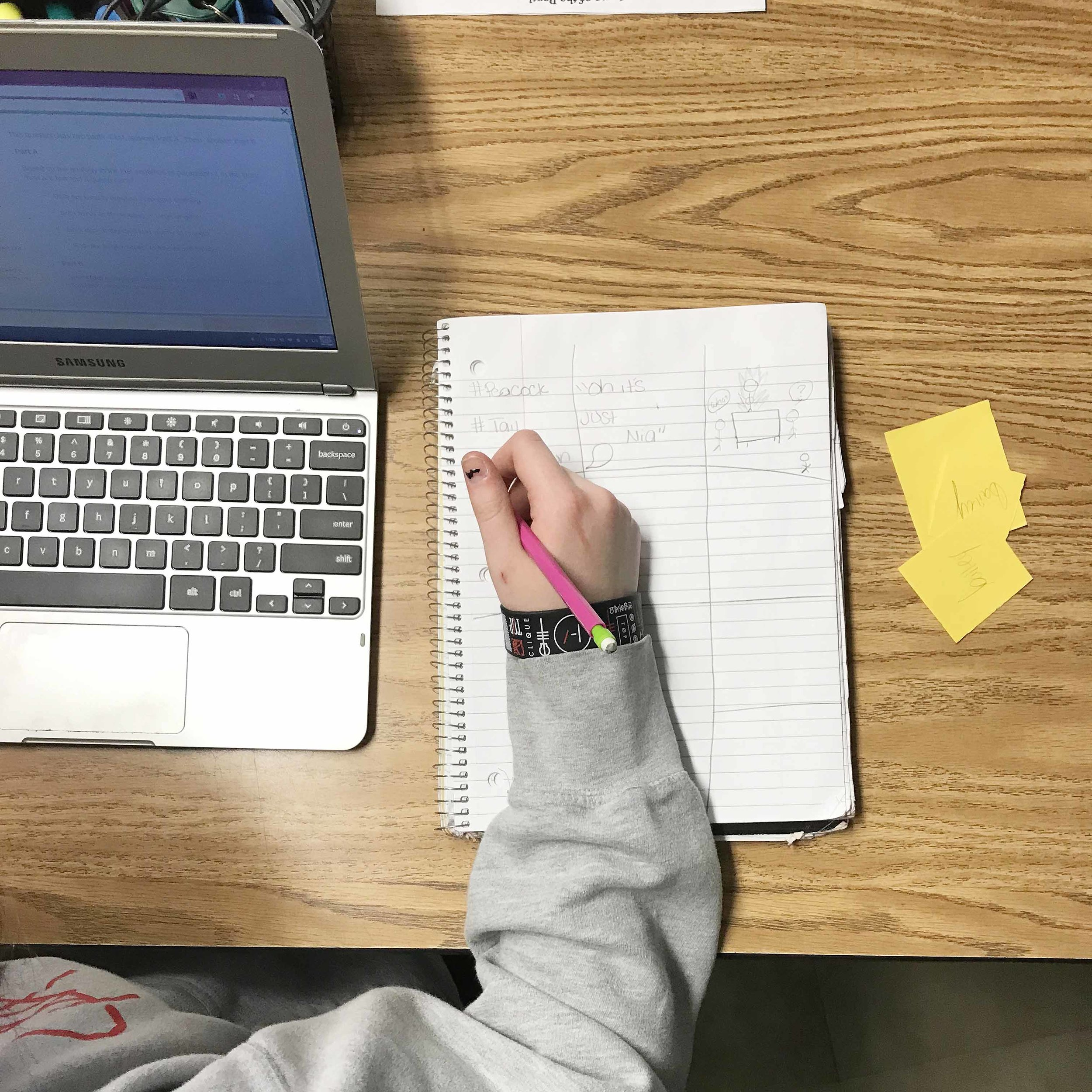 This student earned tickets for staying engaged and annotating while reading an informational text on the computer.