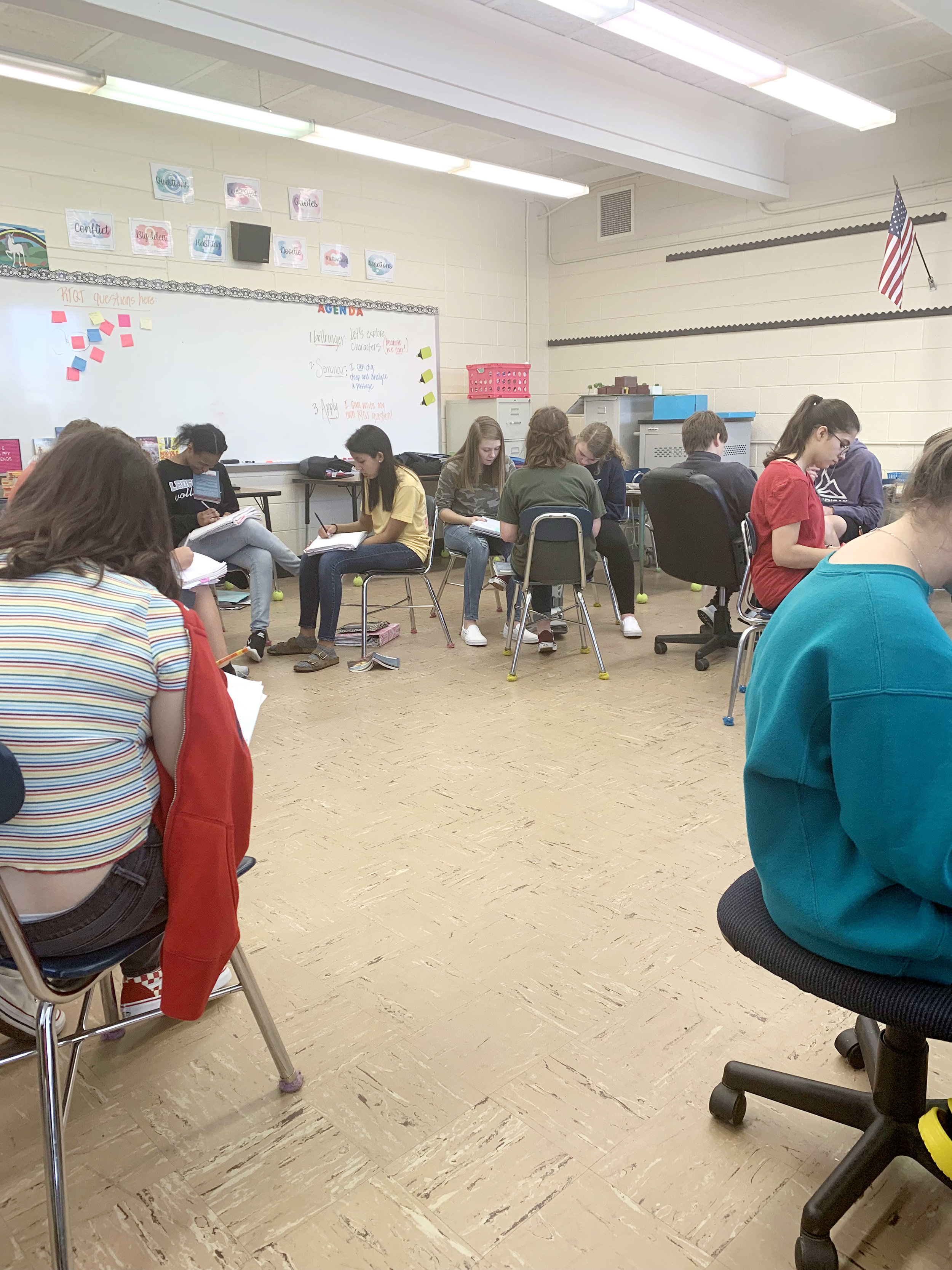 My students working in small groups to come up with their own discussion questions.