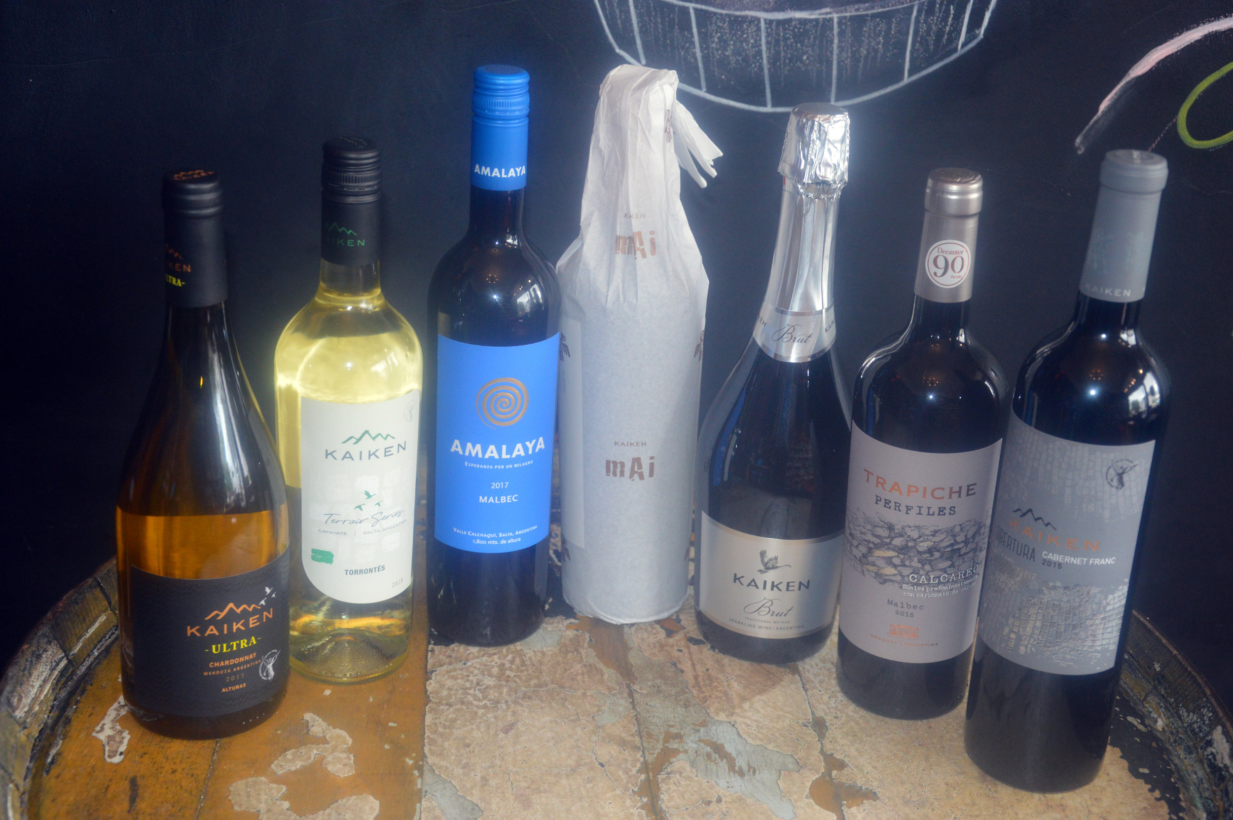 A selection of Argentinian wines in the shop