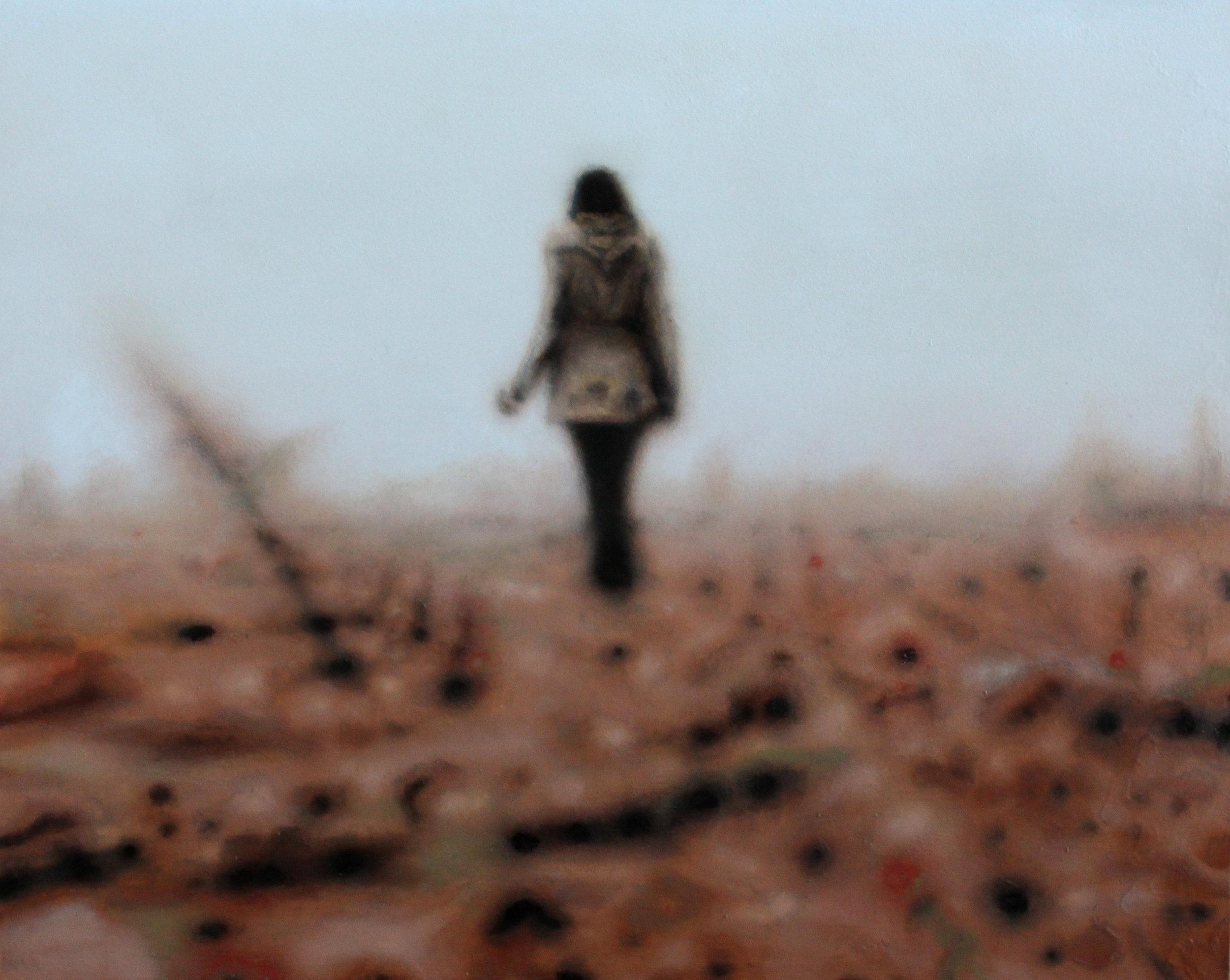 De wegdromer. Tweedimensionaal, Schilderkunst, 30x24, olieverf op paneel. © 2019 Het gedicht en schilderij 'De wegdromer' zijn uit de serie 'Auditoria'. Schilderkunst gecombineerd met geluid.