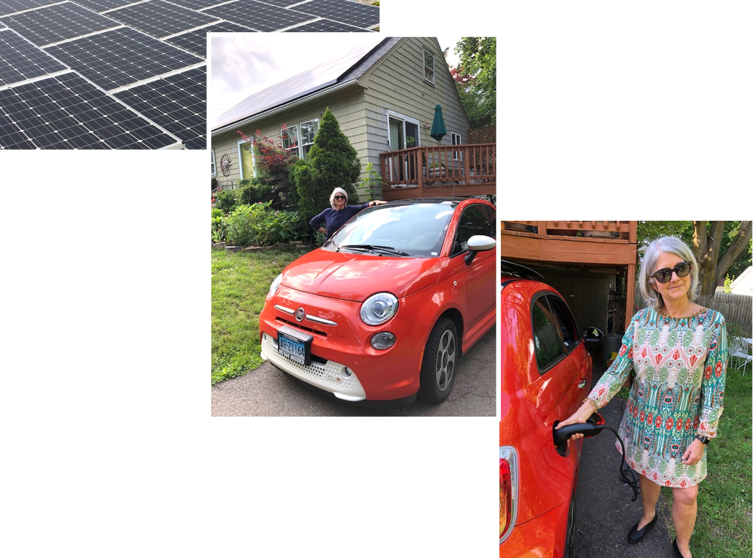"""Figure 1. Photovoltaic panels on roof are used to charge """"Plug-in Battery Electric Vehicle"""" and provide other energy needs for the house. (Photos courtesy of Elisabeth Kennedy and Emma Kennedy.)"""