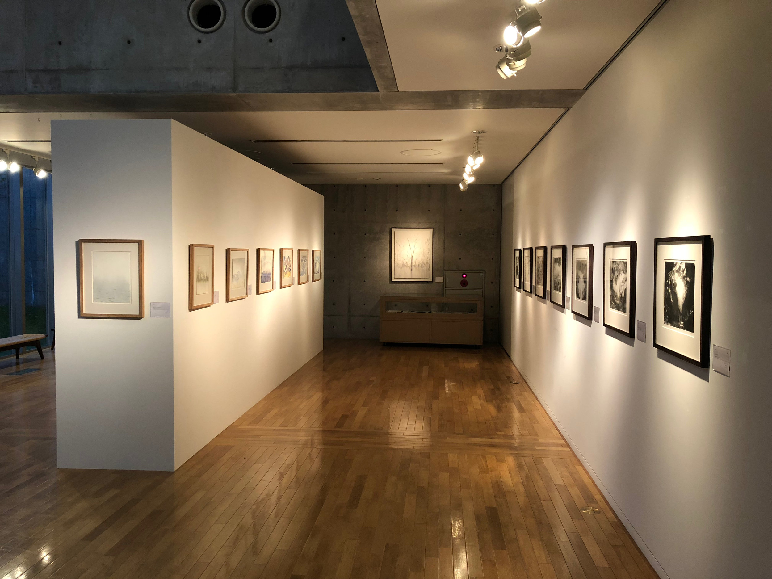 A view into the space of works on paper; watercolours on the left and monotypes on the right