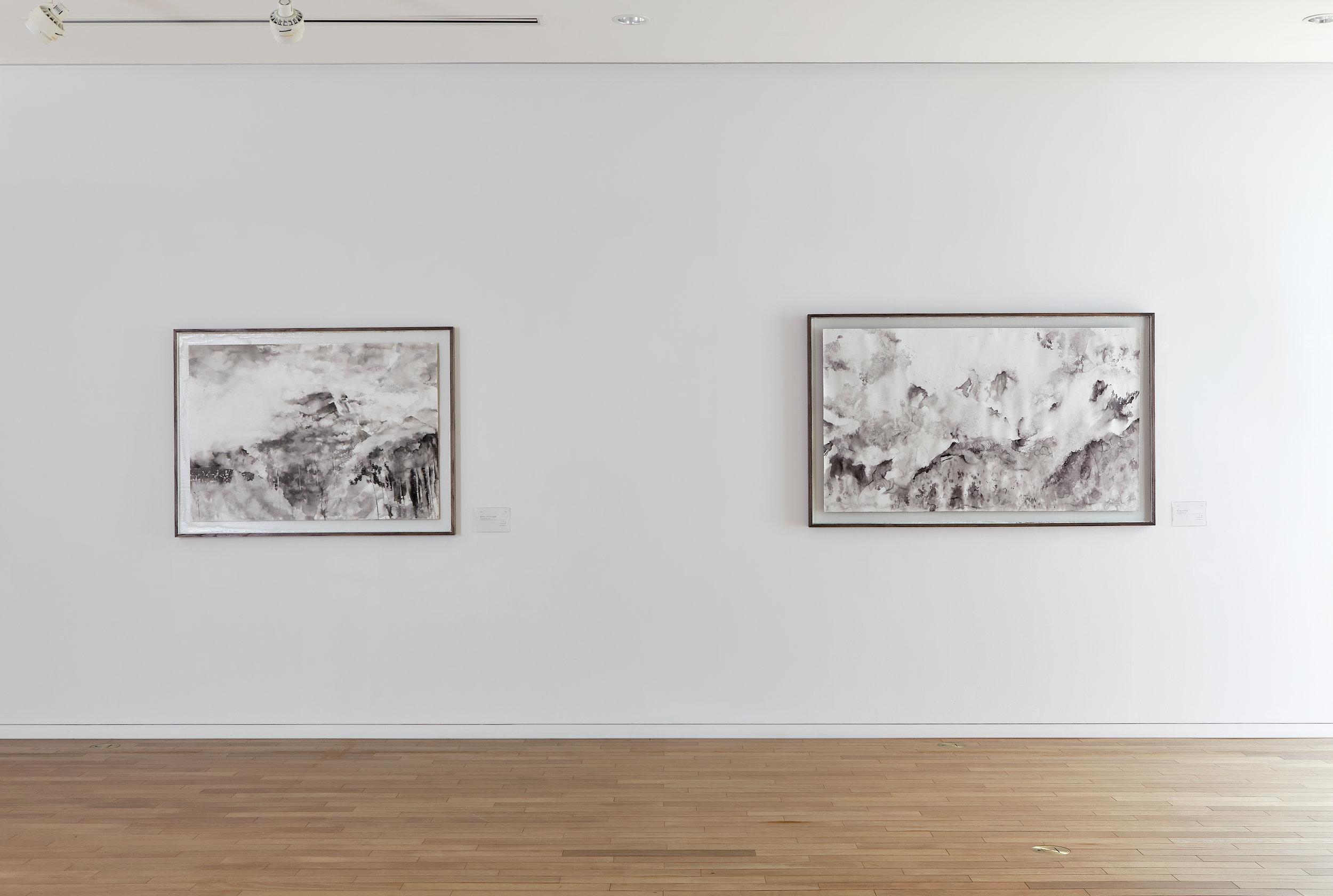 Room of big ink on paper drawings