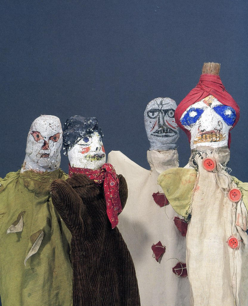Some of the scary puppets Paul Klee made for his son between 1916 and 1925. Via  Flickr .