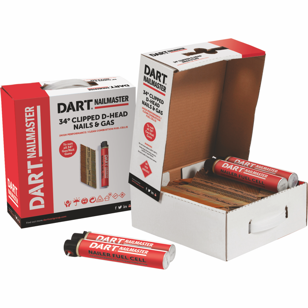Dart 1st Fix nails 45 degrees-complete with gas - 51mm, 63mm & 75mm annular90mm smoothwww.darttoolgroup.com