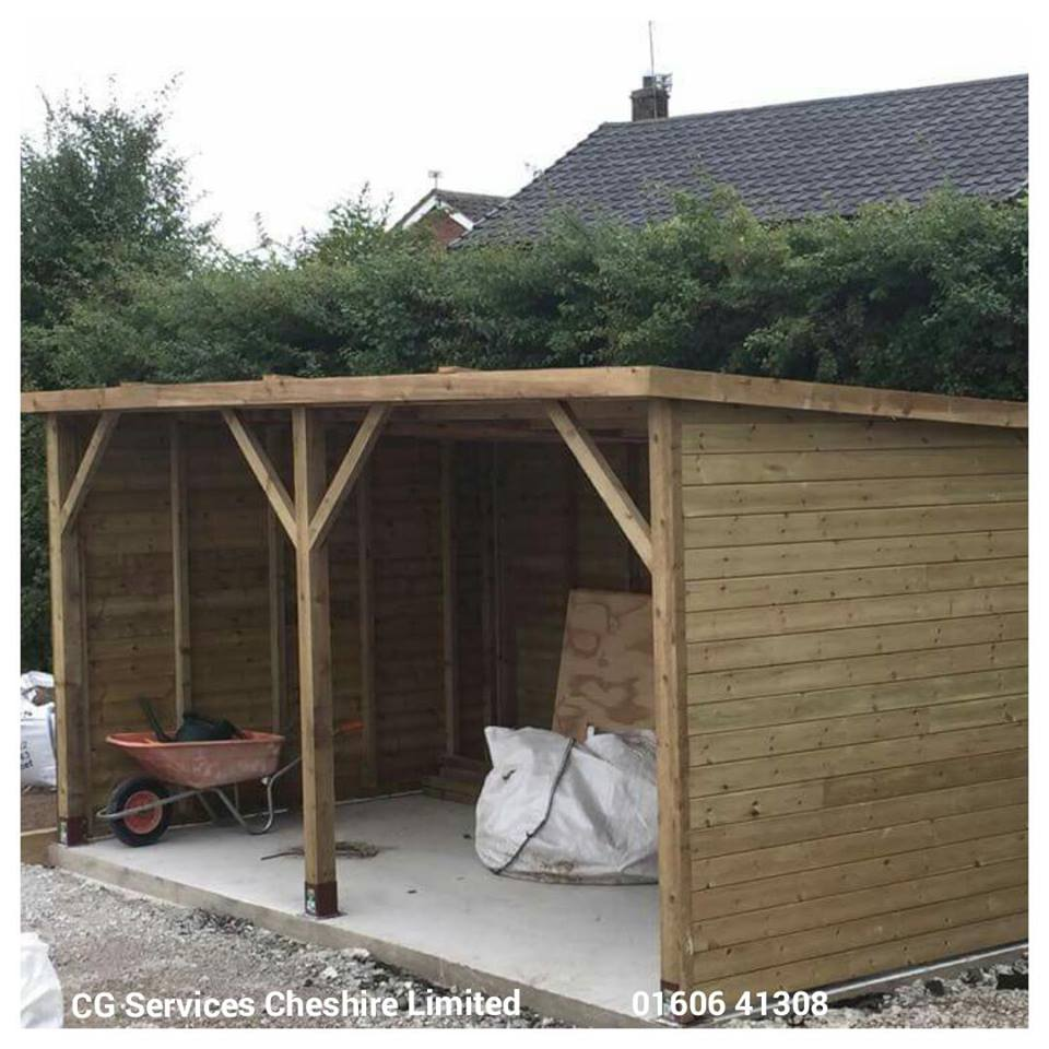 Outbuilding built by CG Services using profile boards and bolt down supports.