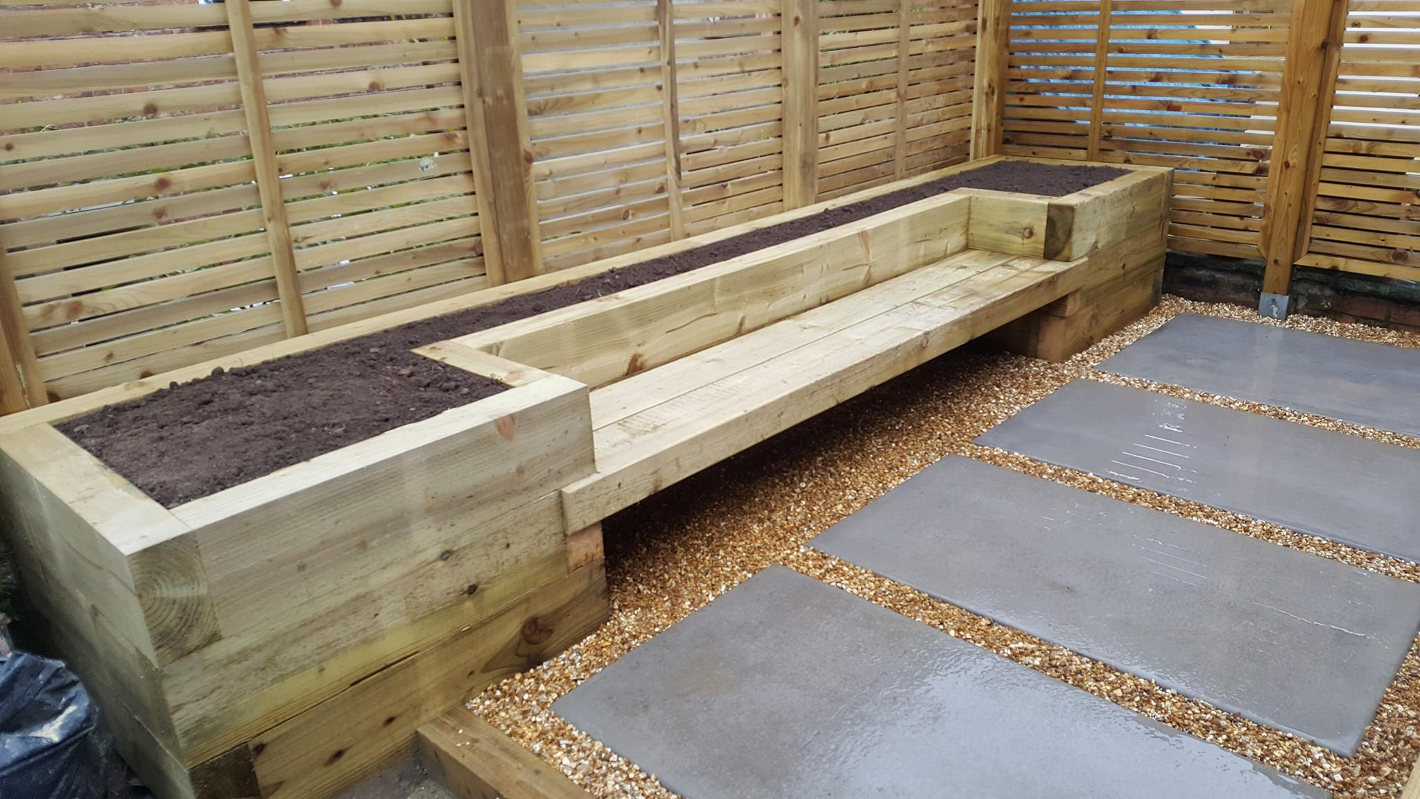 Bench Planters Using Sleepers-DMC Timber & Landscaping