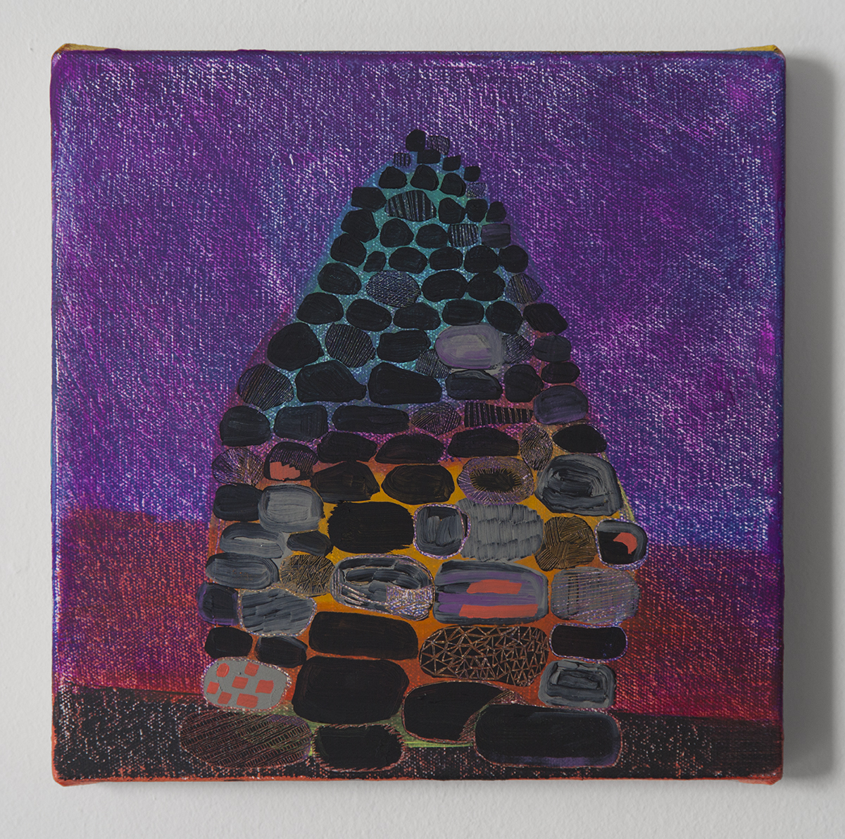 """Magic Cairn #1, Oil and cold wax on canvas, 9"""" x 9"""""""