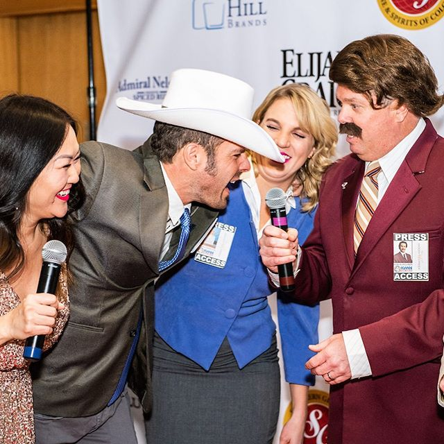 When you throw an Oscars Themed Awards Gala for your corporate client and instruct their attendees to dress as their favorite movie characters, you might get an #anchorman Channel 4 #newsteam Yes, that's Ron Burgundy. Incidentally, I'm also married to him. What a fun #corporateevent  #costumeparties