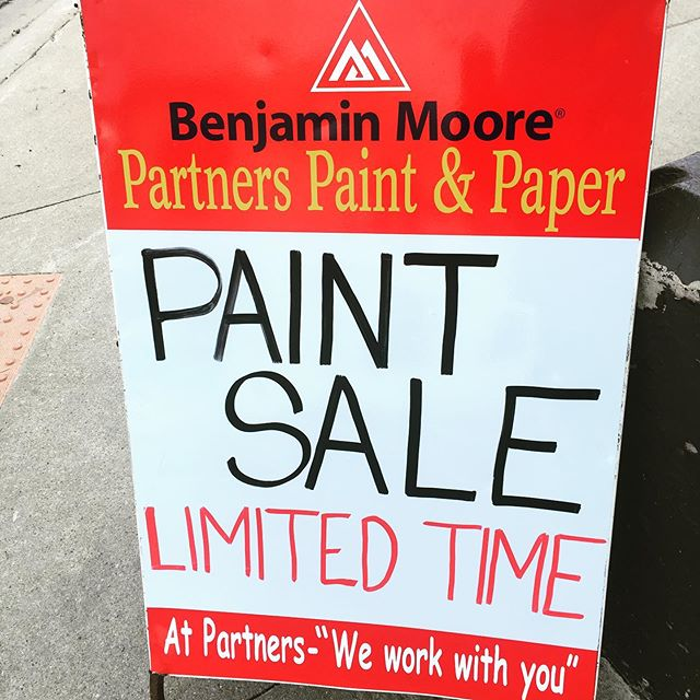 Paint sale on now! Every regular priced gallon in store is on sale! #partnerspaint #partnerspaintandpaper #paintsale #benjaminmoorepaints
