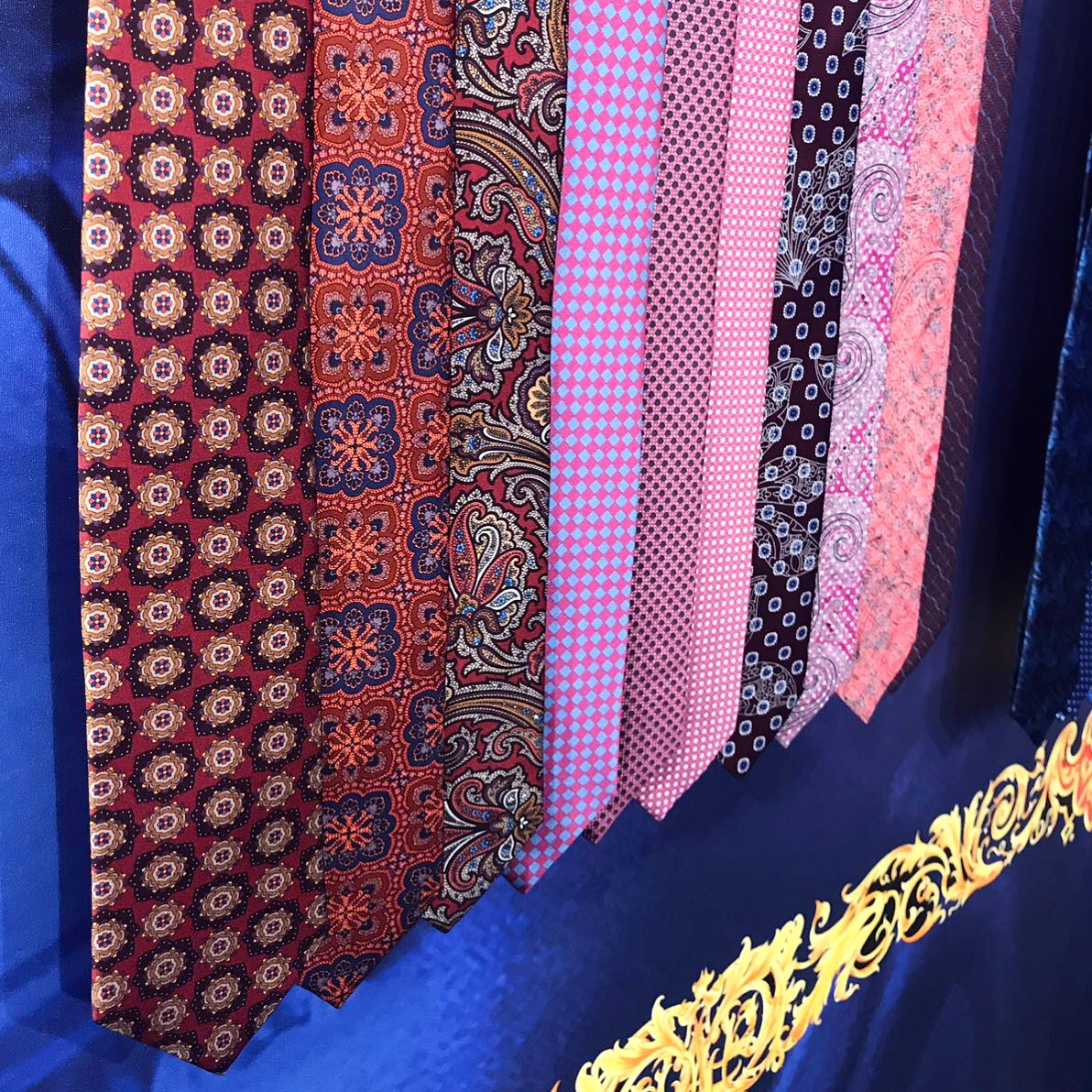 Close up of ties on exhibition display.