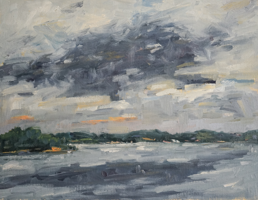"""Gray Day, 14"""" X 12"""" oil on panel"""