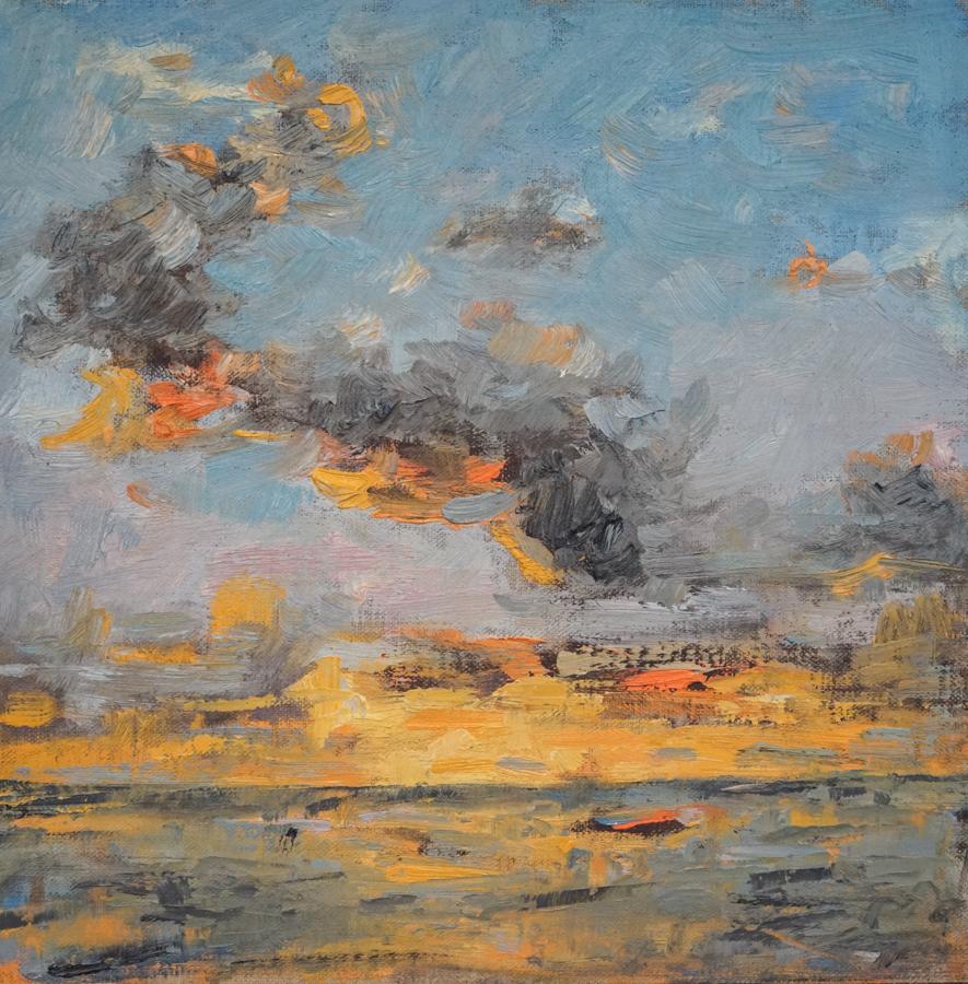 """Sunset, 12"""" X 12"""" oil on canvas"""