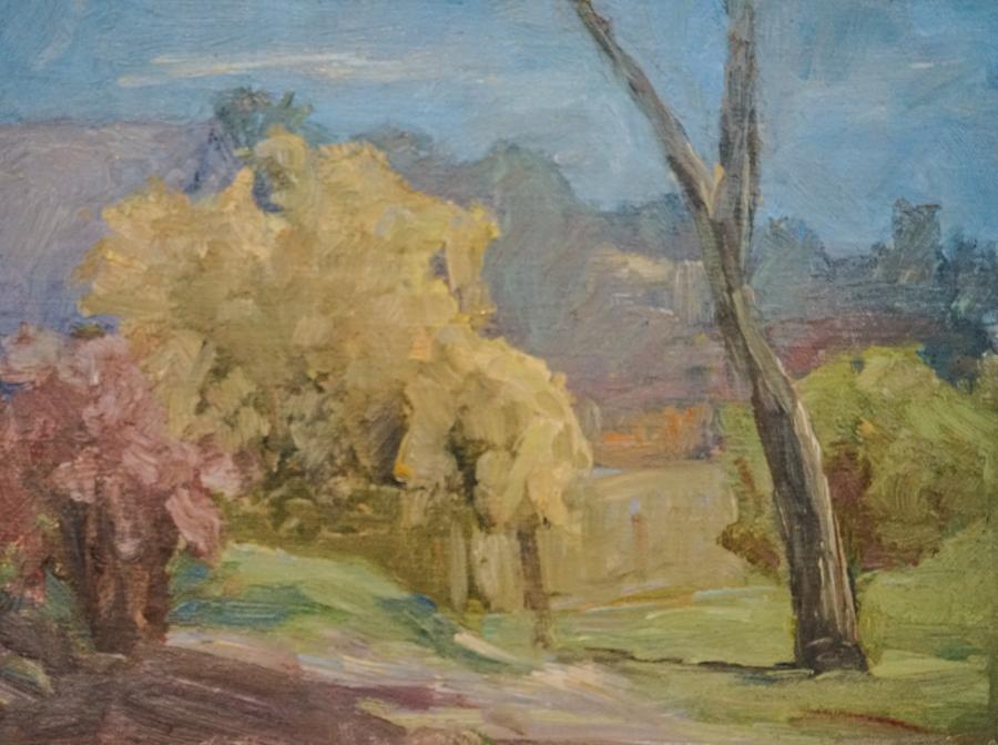 """City Park, 9"""" X 12"""" oil on canvas"""