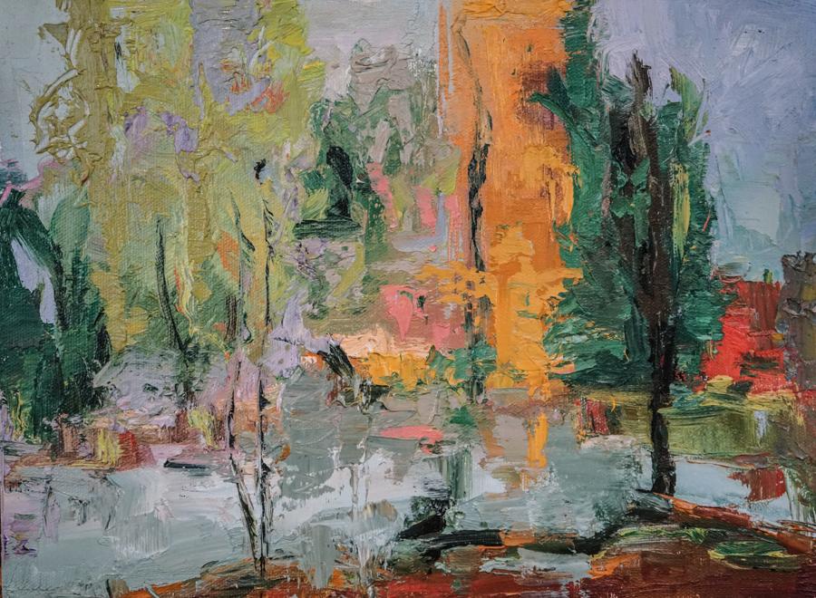 """City Rain, 12"""" X 12"""" oil on canvas"""