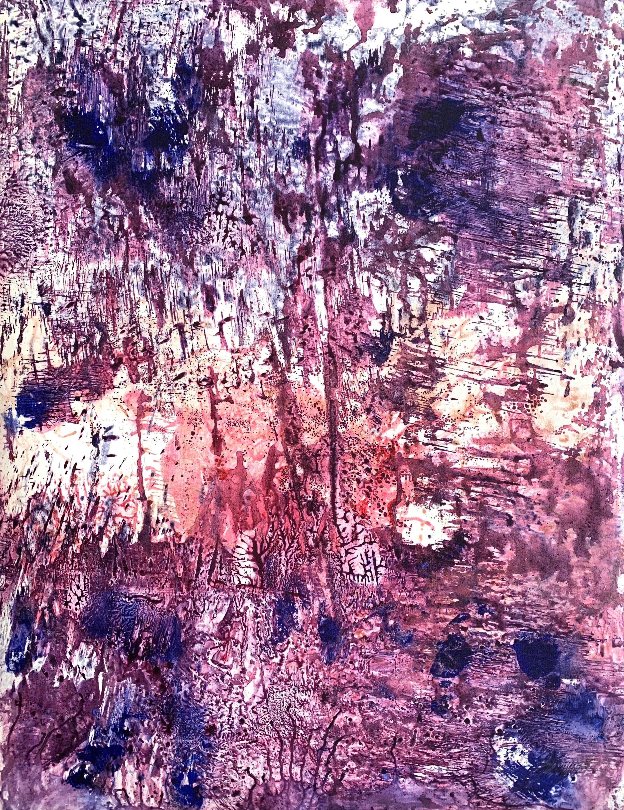 """Violet Hills 2, Ink on 22"""" X 30"""" BFK Rives paper, image size 19"""" X 24""""."""