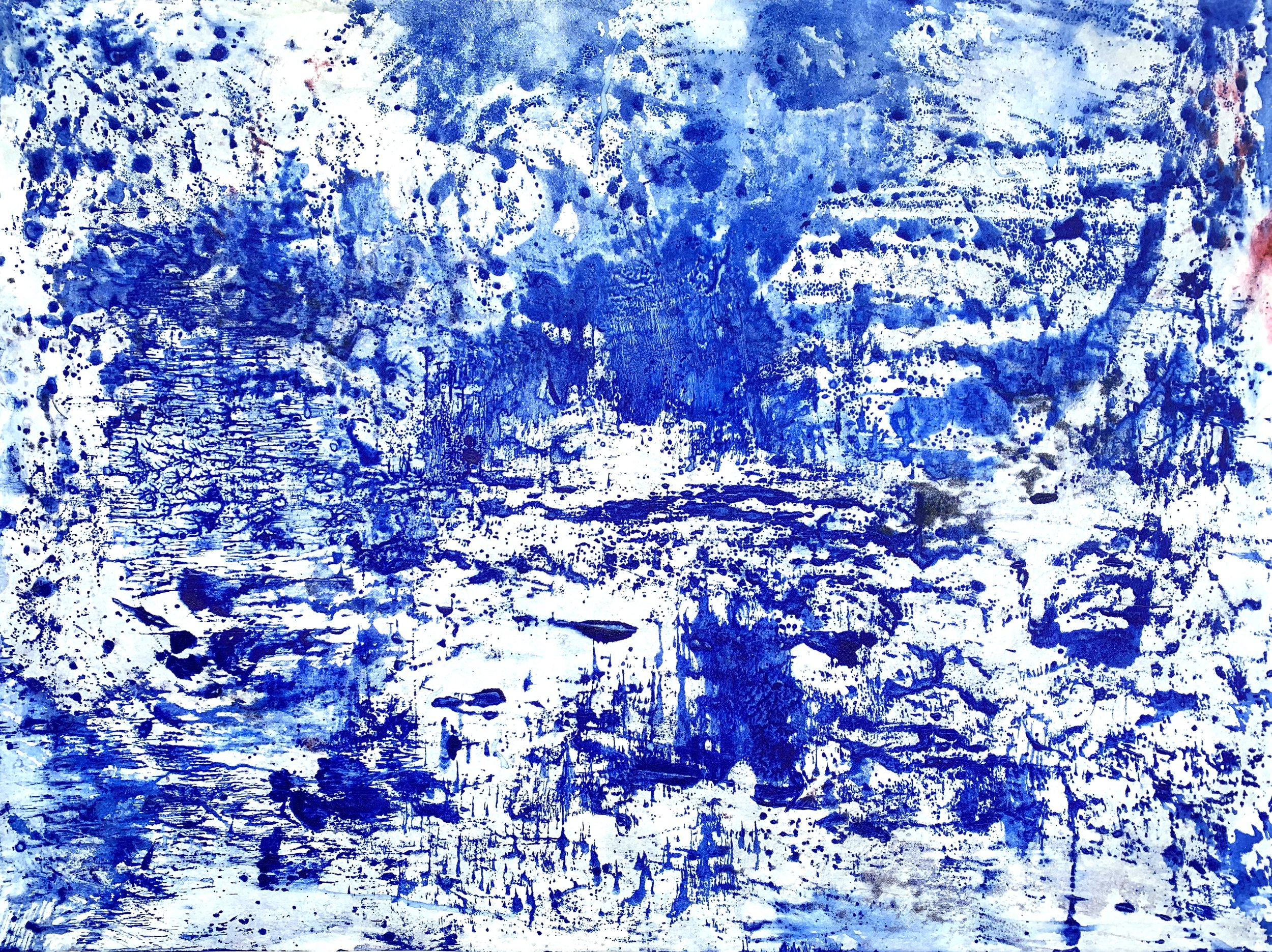 "Blue 2, Ink on handmade rice paper. 23"" X 31""."