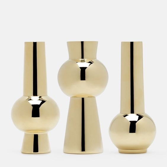 Set of THree Vases - Polished BrassSkultuna X Tenfold