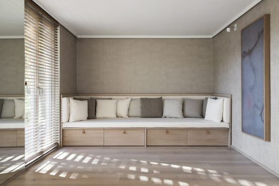 Basement Yoga Studio with Customized Sofa by Liljencrantz Design | Textiles from Astrid