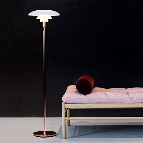 PH Floor Lamp by Poul Henningsen for Louis Poulsen | OW150 Daybed by Ole Wanscher, 1960 Made in Denmark by Carl Hansen & Son