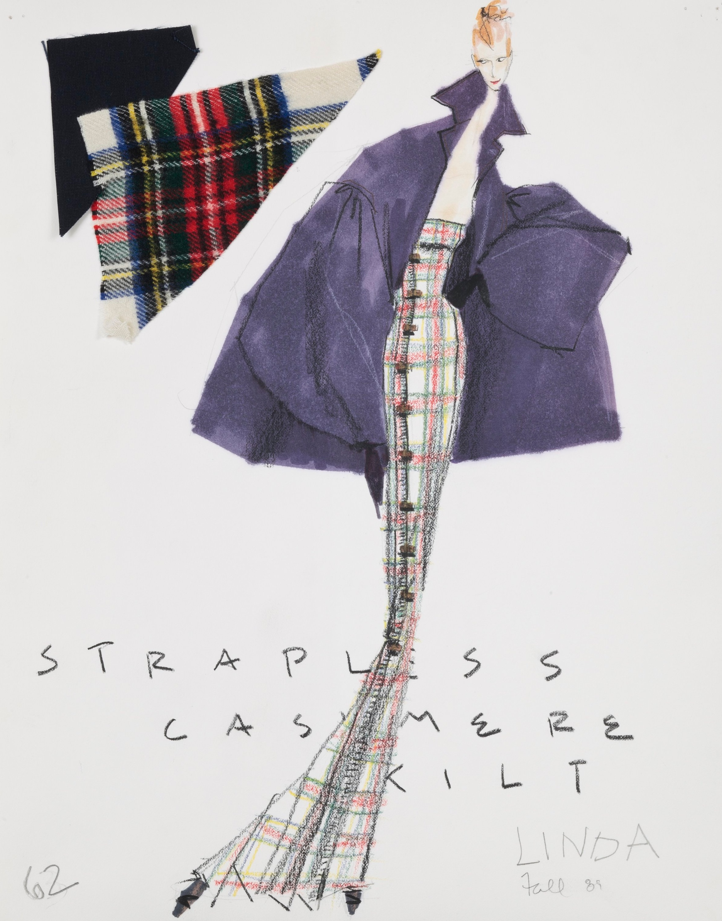 Extreme Kilt | Stewart plaid cashmere flannel gown, Fall 1989 | Photo by Jason Frank Rothenberg
