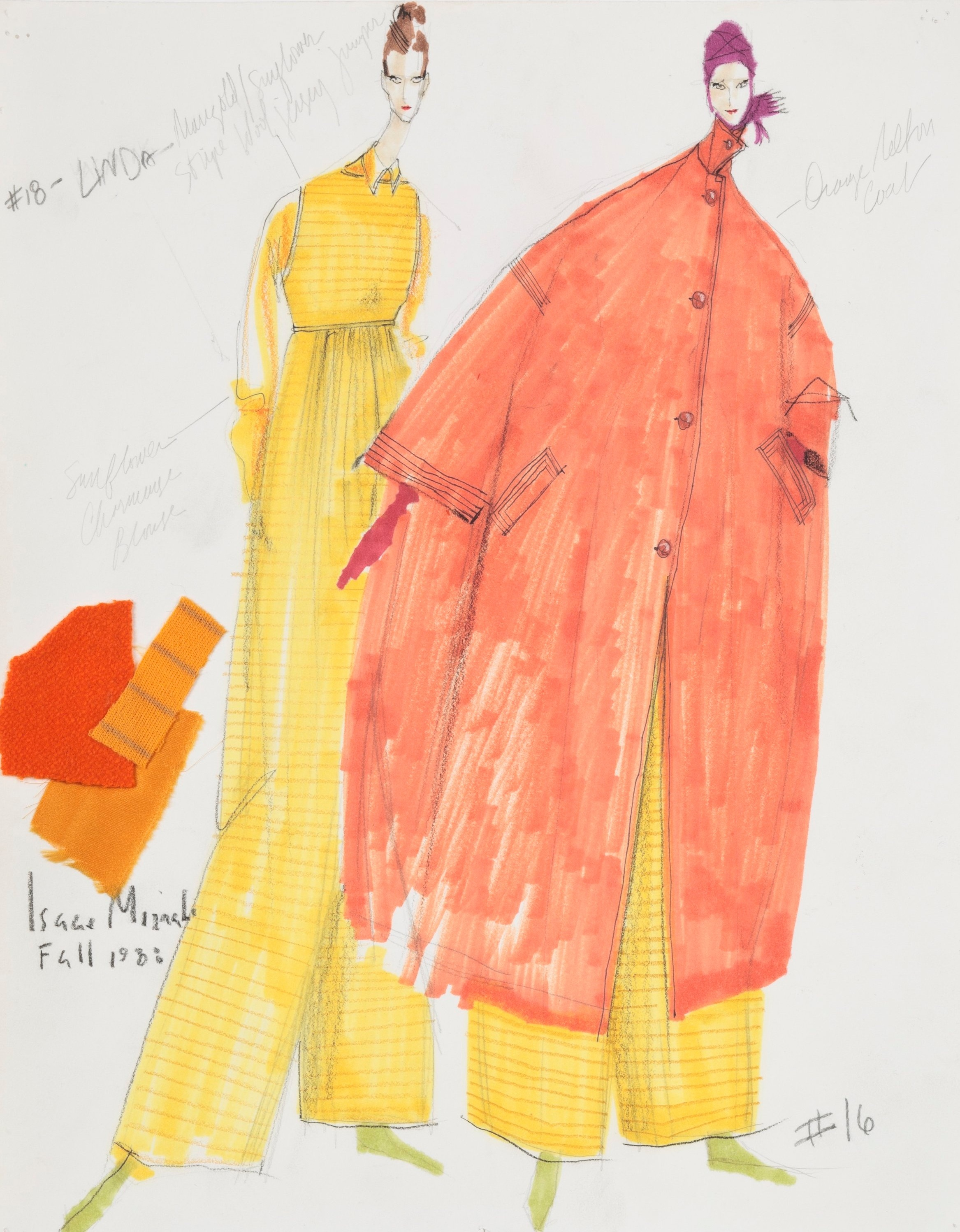 Sketch for Orange-Orange Coat and Jumpsuit, Fall 1988 | Photo by Jason Frank Rothenberg