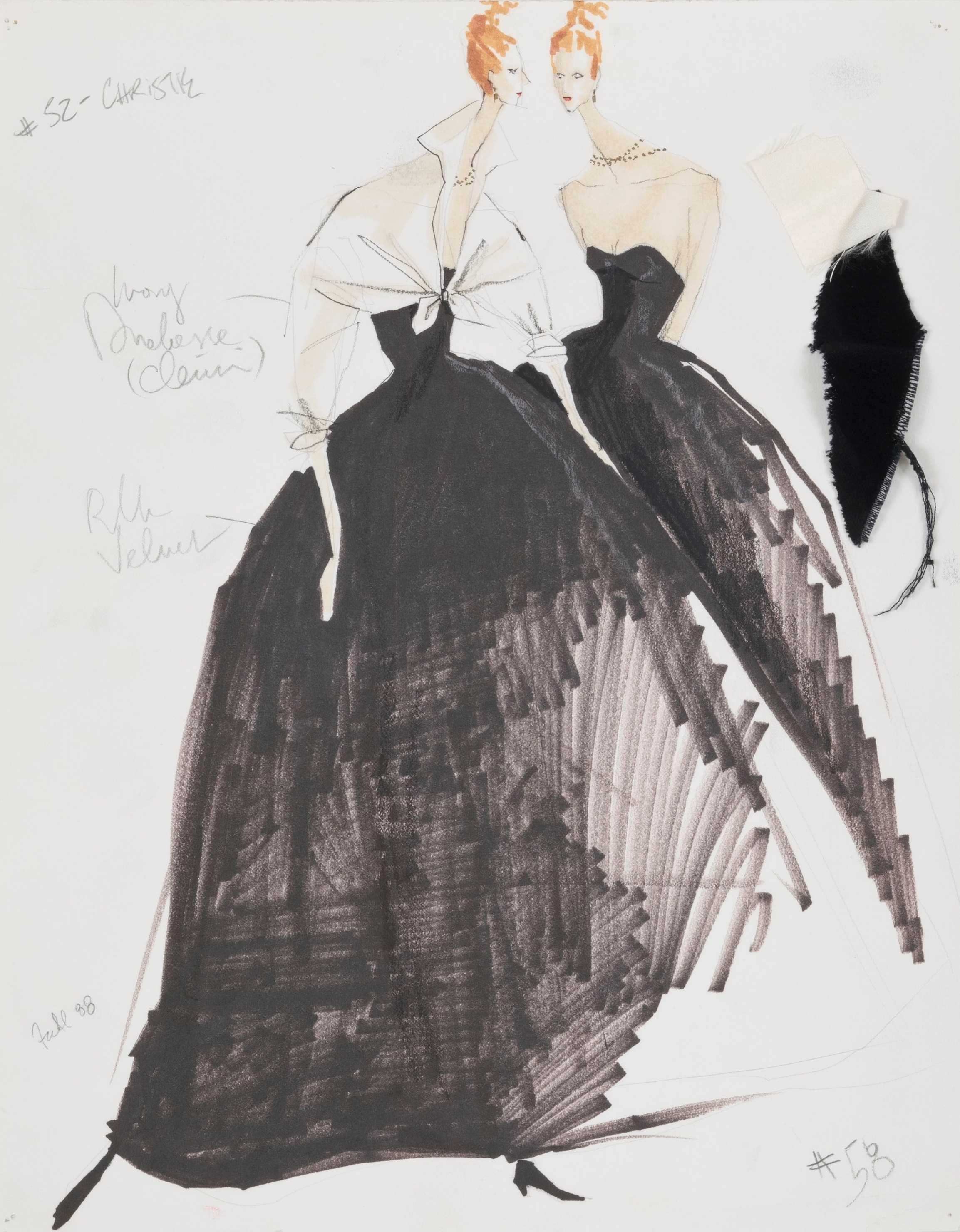 Sketch for Velvet Strapless Gown with Satin Knot, Fall 1988 | Photo by Jason Frank Rothenberg