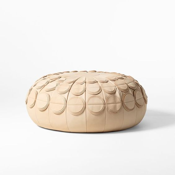 Leather Pouf PomPom by Svenskt Tenn