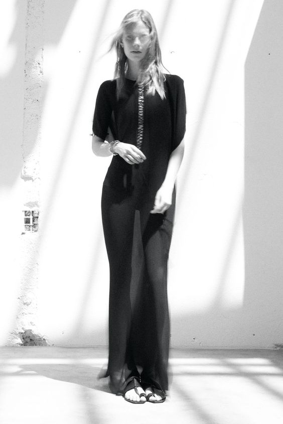 Long Embroidered & Tasseled Caftan Dress in Washed Black Silk by Saint Laurent