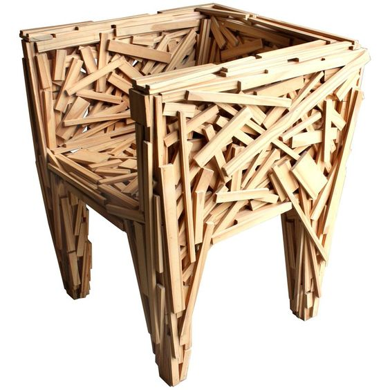 Favela Chair by Fernando and Humberto Campana. Pin (Brazilian pinus wood). Produced by Edra for the Salone del Mobile, Milan, 2003